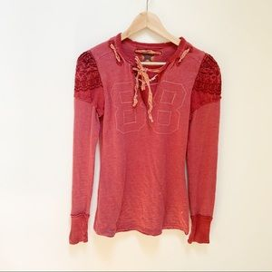 We the Free Free People distressed top red S